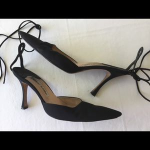 Manolo Blahnik black fabric heels Sz 38